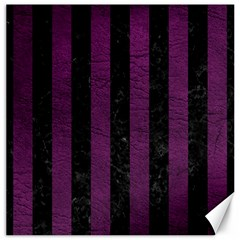 Stripes1 Black Marble & Purple Leather Canvas 16  X 16