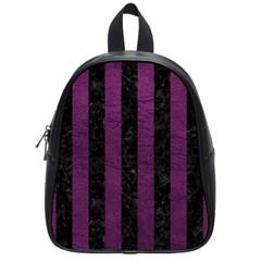 Stripes1 Black Marble & Purple Leather School Bag (small) by trendistuff