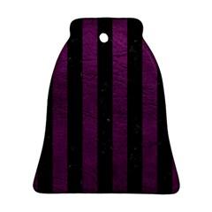 Stripes1 Black Marble & Purple Leather Ornament (bell) by trendistuff