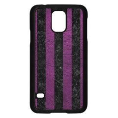 Stripes1 Black Marble & Purple Leather Samsung Galaxy S5 Case (black) by trendistuff