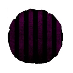 Stripes1 Black Marble & Purple Leather Standard 15  Premium Flano Round Cushions by trendistuff