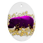 Pink Hippo Sparkle Ornament (Oval)