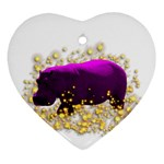 Pink Hippo Sparkle Ornament (Heart)