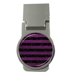 Stripes2 Black Marble & Purple Leather Money Clips (round)  by trendistuff