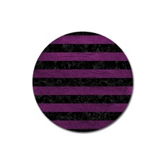 Stripes2 Black Marble & Purple Leather Magnet 3  (round) by trendistuff