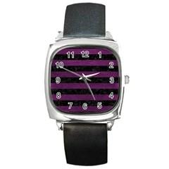 Stripes2 Black Marble & Purple Leather Square Metal Watch by trendistuff