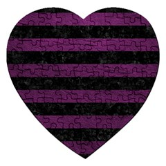Stripes2 Black Marble & Purple Leather Jigsaw Puzzle (heart) by trendistuff