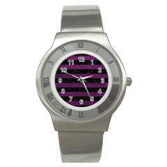 Stripes2 Black Marble & Purple Leather Stainless Steel Watch by trendistuff