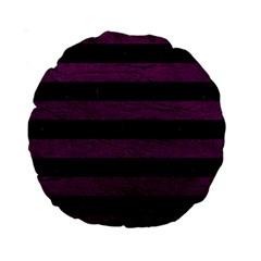 Stripes2 Black Marble & Purple Leather Standard 15  Premium Round Cushions by trendistuff