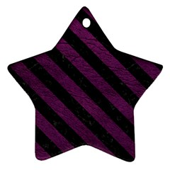 Stripes3 Black Marble & Purple Leather Ornament (star) by trendistuff