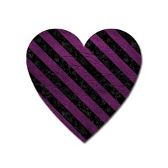 Stripes3 Black Marble & Purple Leather Heart Magnet by trendistuff
