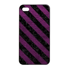 Stripes3 Black Marble & Purple Leather Apple Iphone 4/4s Seamless Case (black) by trendistuff