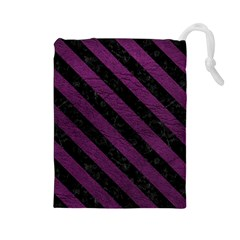 Stripes3 Black Marble & Purple Leather Drawstring Pouches (large)  by trendistuff