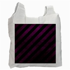 Stripes3 Black Marble & Purple Leather (r) Recycle Bag (two Side)  by trendistuff
