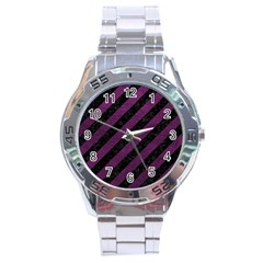 Stripes3 Black Marble & Purple Leather (r) Stainless Steel Analogue Watch