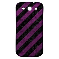 Stripes3 Black Marble & Purple Leather (r) Samsung Galaxy S3 S Iii Classic Hardshell Back Case by trendistuff