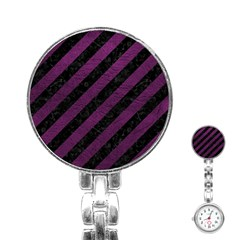 Stripes3 Black Marble & Purple Leather (r) Stainless Steel Nurses Watch by trendistuff