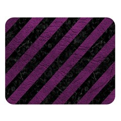 Stripes3 Black Marble & Purple Leather (r) Double Sided Flano Blanket (large)  by trendistuff