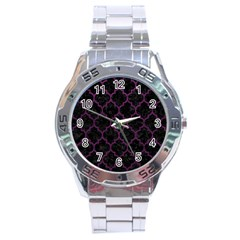 Tile1 Black Marble & Purple Leather (r) Stainless Steel Analogue Watch by trendistuff