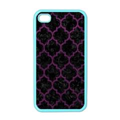Tile1 Black Marble & Purple Leather (r) Apple Iphone 4 Case (color) by trendistuff