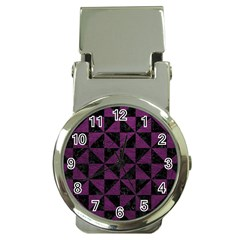 Triangle1 Black Marble & Purple Leather Money Clip Watches