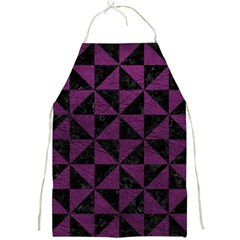 Triangle1 Black Marble & Purple Leather Full Print Aprons by trendistuff