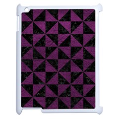Triangle1 Black Marble & Purple Leather Apple Ipad 2 Case (white) by trendistuff