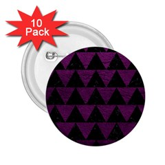Triangle2 Black Marble & Purple Leather 2 25  Buttons (10 Pack)  by trendistuff