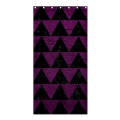 Triangle2 Black Marble & Purple Leather Shower Curtain 36  X 72  (stall)  by trendistuff