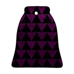 Triangle2 Black Marble & Purple Leather Bell Ornament (two Sides) by trendistuff