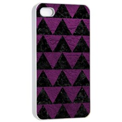 Triangle2 Black Marble & Purple Leather Apple Iphone 4/4s Seamless Case (white) by trendistuff