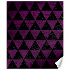 Triangle3 Black Marble & Purple Leather Canvas 8  X 10  by trendistuff