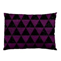 Triangle3 Black Marble & Purple Leather Pillow Case (two Sides) by trendistuff