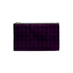 Woven1 Black Marble & Purple Leather Cosmetic Bag (small)  by trendistuff