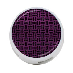 Woven1 Black Marble & Purple Leather 4 Port Usb Hub (two Sides)  by trendistuff