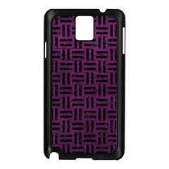 Woven1 Black Marble & Purple Leather Samsung Galaxy Note 3 N9005 Case (black) by trendistuff