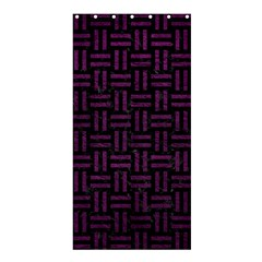 Woven1 Black Marble & Purple Leather (r) Shower Curtain 36  X 72  (stall)  by trendistuff