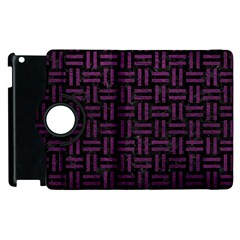 Woven1 Black Marble & Purple Leather (r) Apple Ipad 3/4 Flip 360 Case by trendistuff