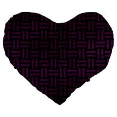 Woven1 Black Marble & Purple Leather (r) Large 19  Premium Flano Heart Shape Cushions by trendistuff