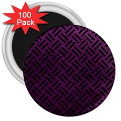 Woven2 Black Marble & Purple Leather 3  Magnets (100 Pack) by trendistuff