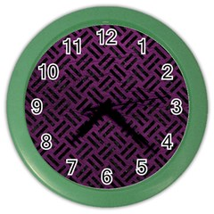 Woven2 Black Marble & Purple Leather Color Wall Clocks by trendistuff