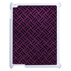 Woven2 Black Marble & Purple Leather Apple Ipad 2 Case (white) by trendistuff