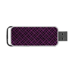 Woven2 Black Marble & Purple Leather Portable Usb Flash (one Side) by trendistuff