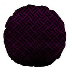 Woven2 Black Marble & Purple Leather Large 18  Premium Round Cushions by trendistuff