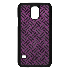 Woven2 Black Marble & Purple Leather Samsung Galaxy S5 Case (black) by trendistuff