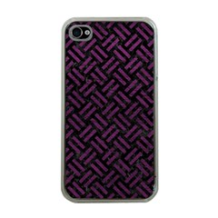 Woven2 Black Marble & Purple Leather (r) Apple Iphone 4 Case (clear) by trendistuff