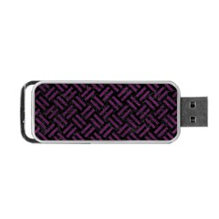 Woven2 Black Marble & Purple Leather (r) Portable Usb Flash (one Side) by trendistuff