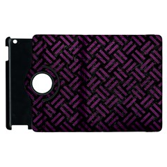 Woven2 Black Marble & Purple Leather (r) Apple Ipad 3/4 Flip 360 Case by trendistuff