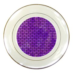 Brick1 Black Marble & Purple Watercolor Porcelain Plates by trendistuff