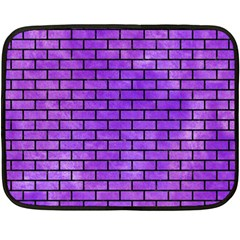Brick1 Black Marble & Purple Watercolor Fleece Blanket (mini) by trendistuff